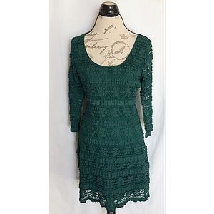 Max Edition Dress Womens Size Large Lace Green